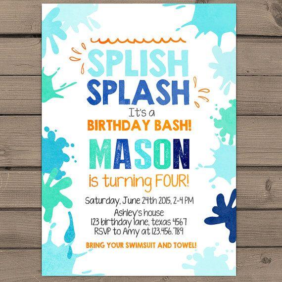 Splish Splash Birthday Invitation Pool Party by Anietillustration - birthday invitation pool party