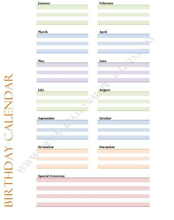 free special dates printable - Google Search CALENDARS  JOURNALS - Perpetual Calendar Template