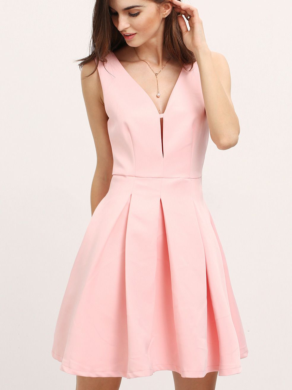 Pink Sleeveless Flare Dress | Vestiditos