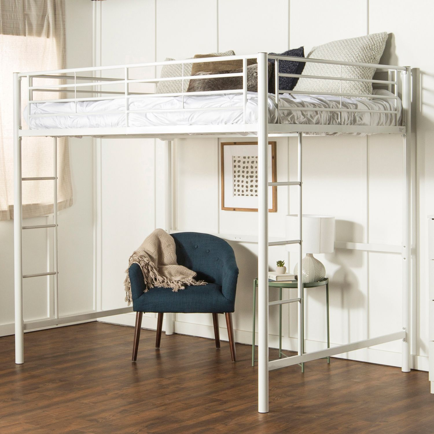 Premium Metal Full Loft Bed White