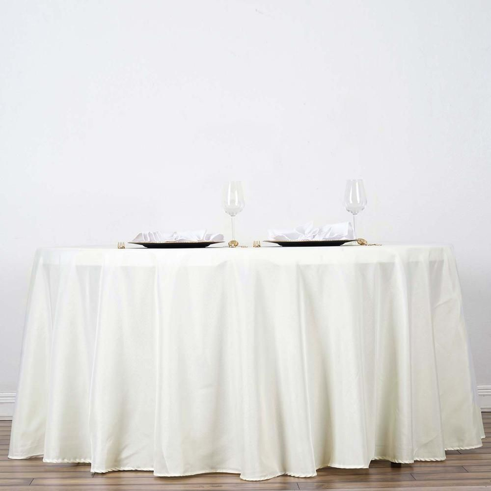 120 Ivory Polyester Round Tablecloth Flower Table Decorations Wedding Reception Table Decorations Round Tablecloth