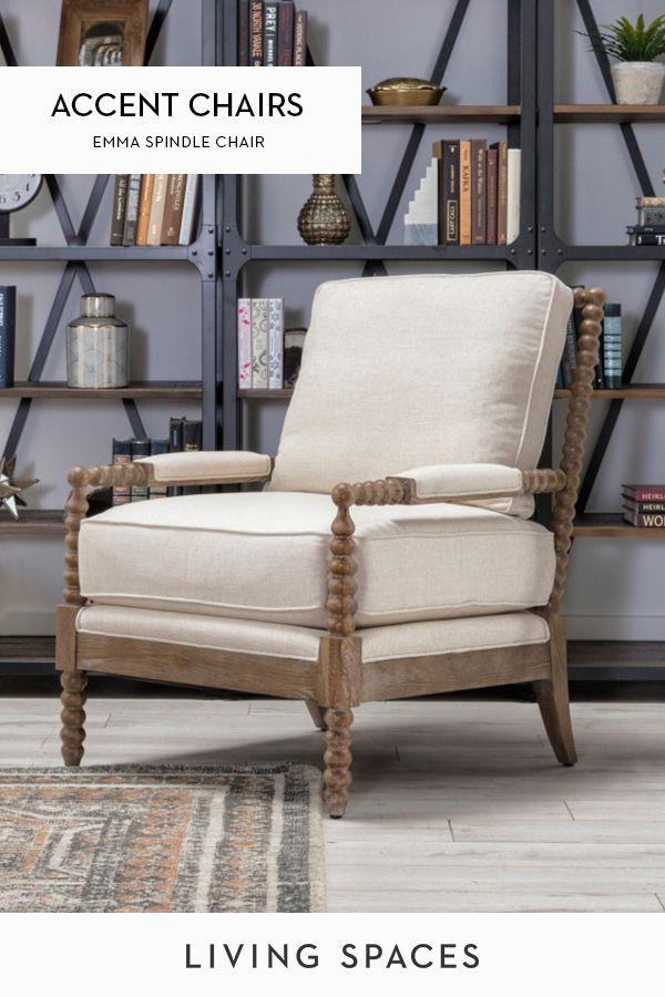 Spindle Arm Accent Chair Upholstered In A Neutral Tone And Accented By Weathered Oak Wood Featu Living Room Chairs Oak Furniture Living Room Farmhouse Interior