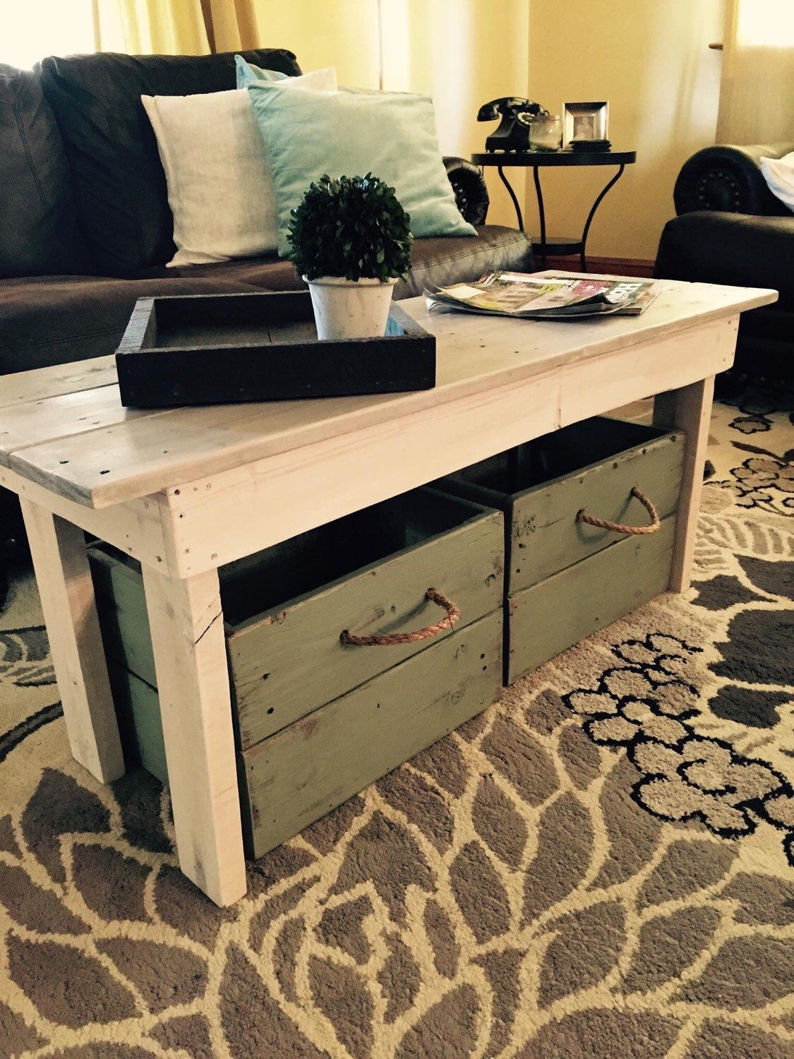 Wood coffee table/Coffee table/Distressed coffee table