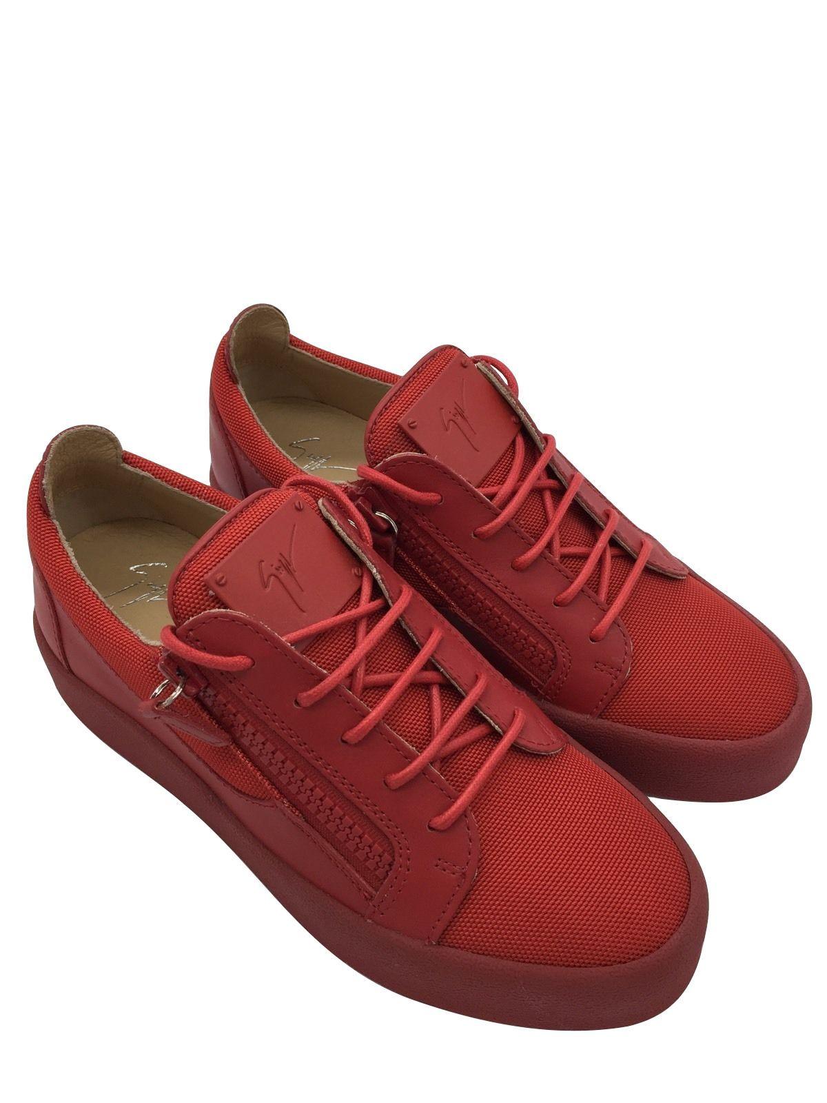 001d30ca5d410 GIUSEPPE ZANOTTI DESIGN FRANKIE DOUBLE ZIP RED LOW TOP SNEAKER ...