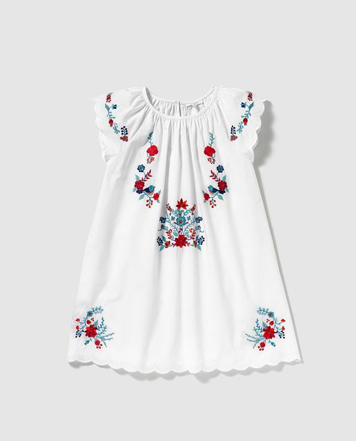 fa71d21d1322 Vestido de niña Bass 10 blanco con bordado multicolor | kid clothes ...