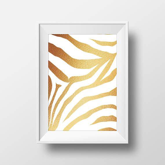 Gold Foil Tiger Animal Print Instant Download Home Decor Digital ...