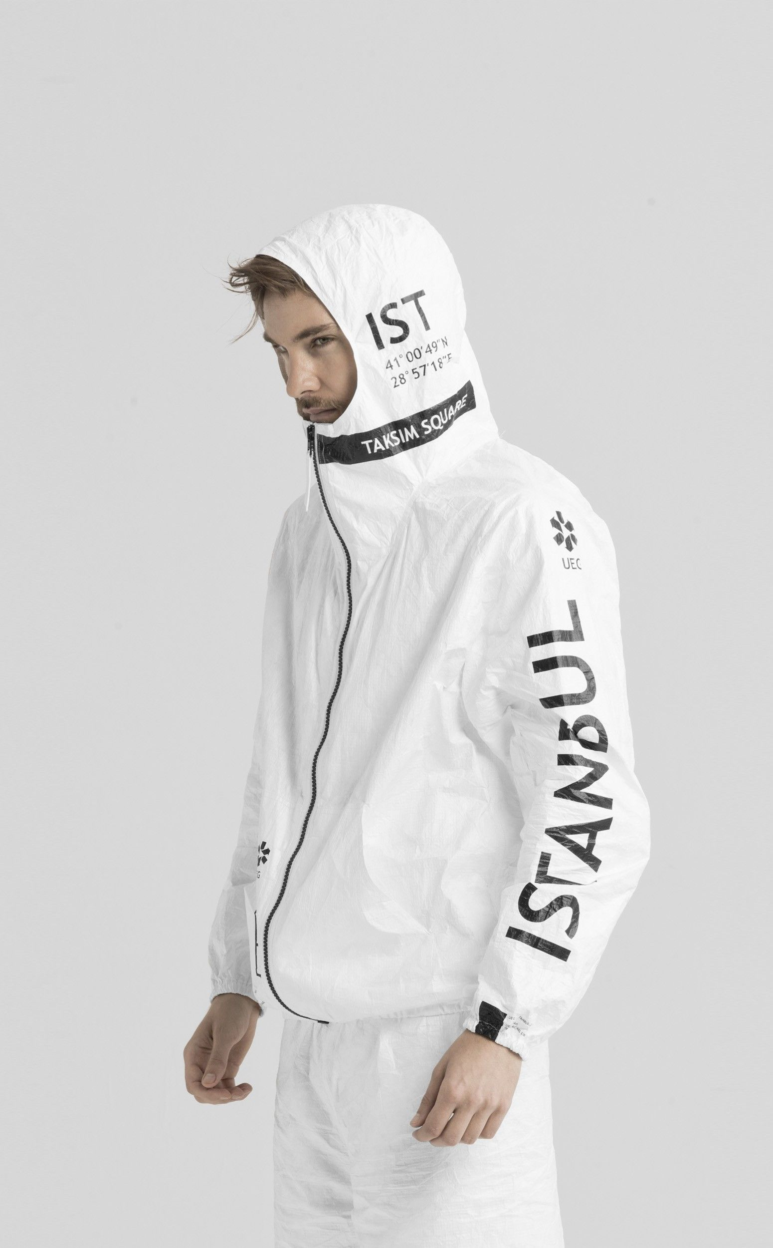 """Tyvek Istanbul zip-up jacket, from UEG's Cities project. """"UEG CITIES PROJECT IS A PART OF LIFESTYLE PACKAGING LINE THAT EXPLORES CLOTHING AS A METAPHOR OF PACKAGING FOR HUMAN BODY."""""""