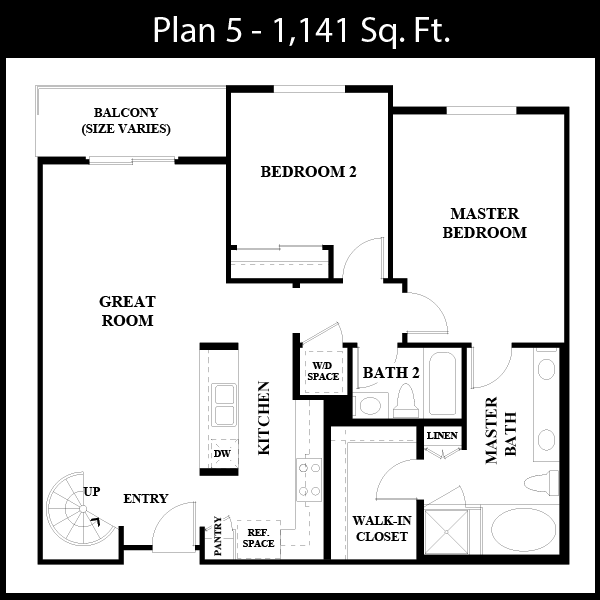 2BR + 2BA Floorplan, $4643 p/month (2-5 month stay) Downtown - fully furnished. 1141  sq ft