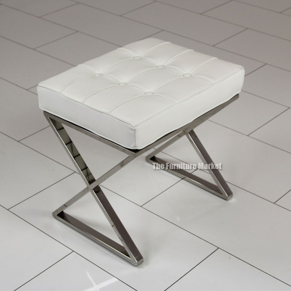 Astonishing Leather Stools With Back Barcelona White Leather X Frame Cjindustries Chair Design For Home Cjindustriesco