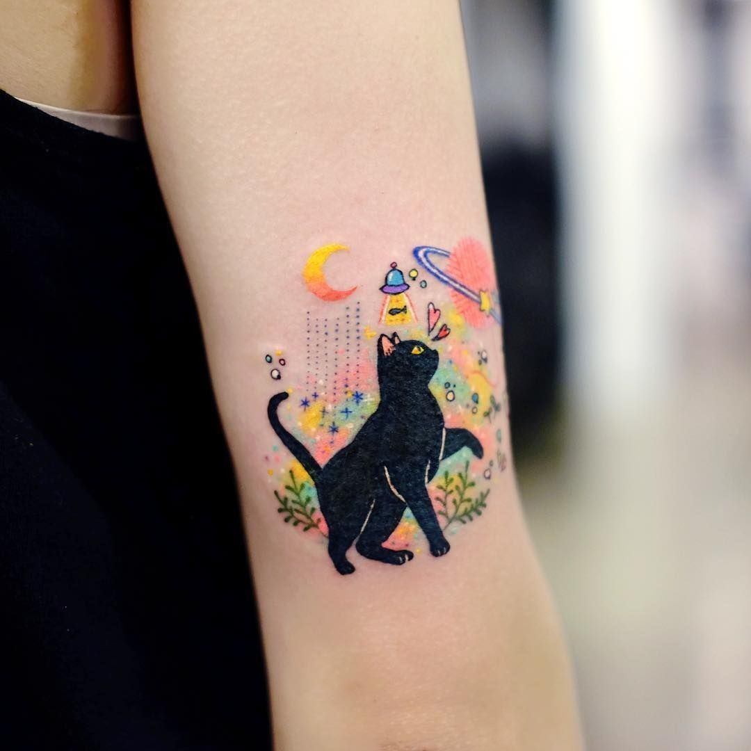 Image Uploaded By Cristal Find Images And Videos About Black Tattoo And Cat On We Heart It The App To Get L Cat Face Tattoos Tattoos For Women Hand Tattoos