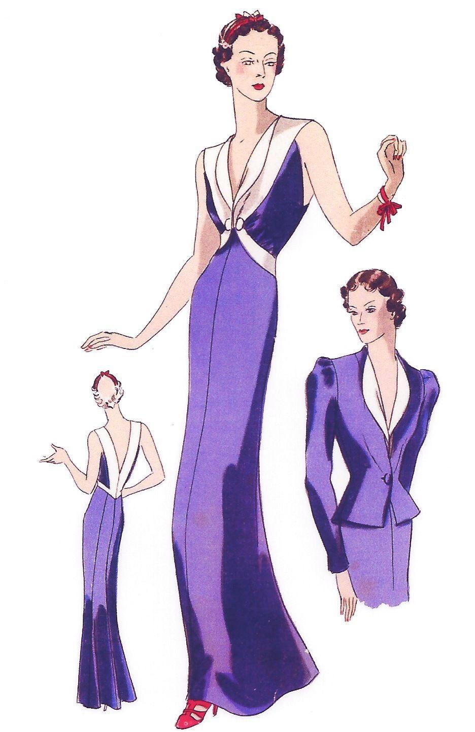 1939 Vintage Sewing Pattern B34 Evening Dress Jacket 1026   eBay