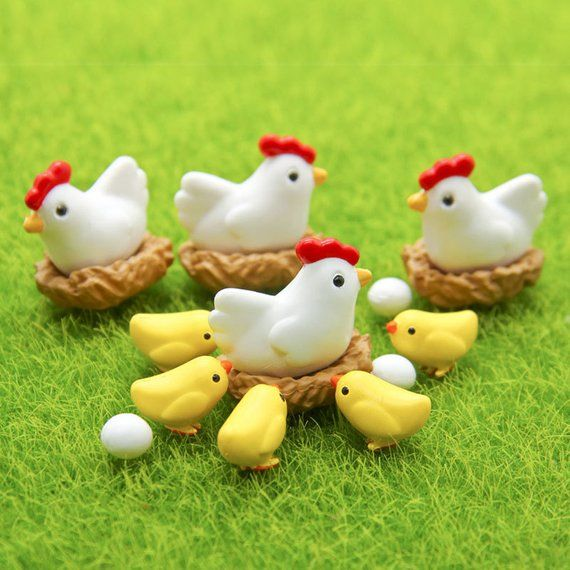 1 set ( 16pcs ) Chicken Breed Hen Family Bonsai Tools Fairy Garden Decoration Miniatures Resin Terra -   24 fairy garden drawing