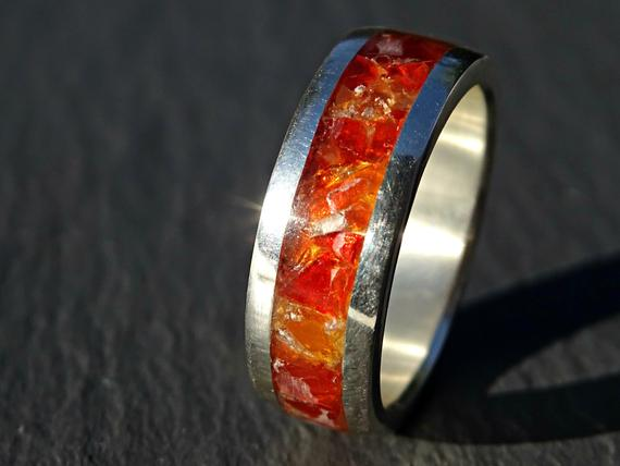 Fire Opal Silver Ring Real Fire Opal Inlay Ring Opal Wedding