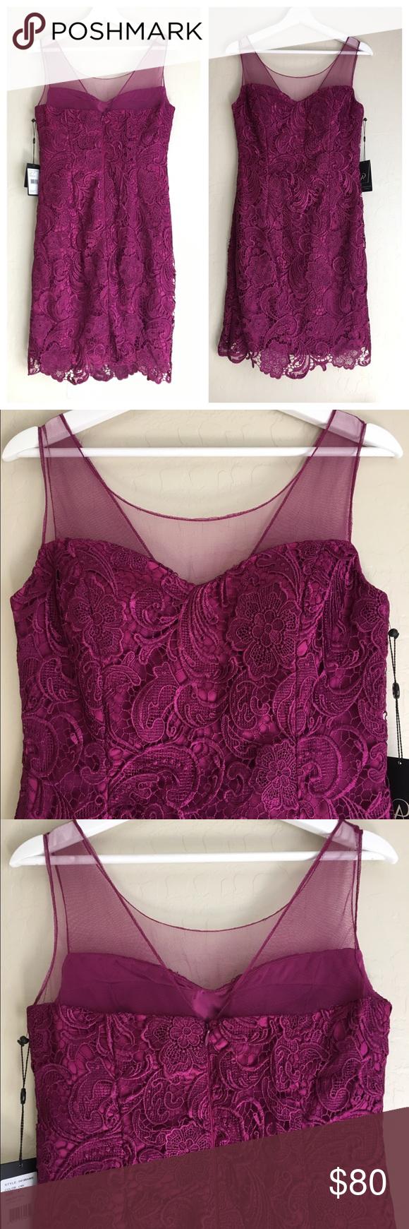 Adrianna Papell Magenta Illusion Lace Dress NWT Gorgeous magenta ...