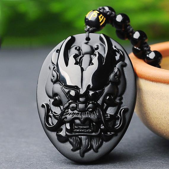 "1.4/"" Black Obsidian Wolf Head Pendant Necklace Fashion Jewelry Stone Caving"