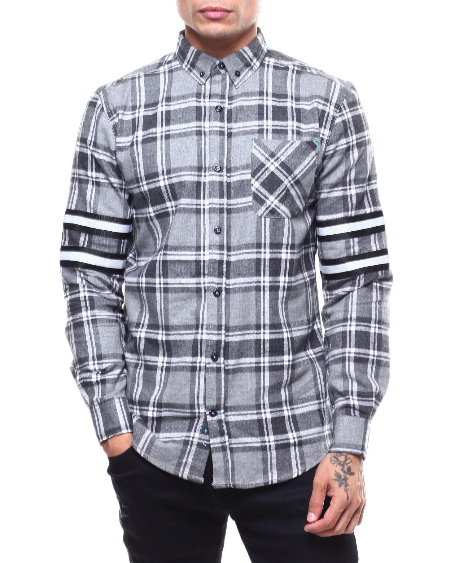 Mens Casual Plaid Patchwork Dress Shirt-Long Sleeve Sherpa Lined Shirt Top Blouse