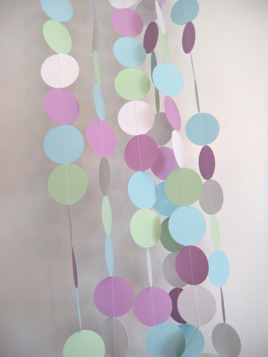 Baby Shower/ Mermaid Party Paper Garland - Pastel Green, Pastel Blue, Pastel Purple and White by AlbynoBearCreations on Etsy https://www.etsy.com/listing/242975313/baby-shower-mermaid-party-paper-garland