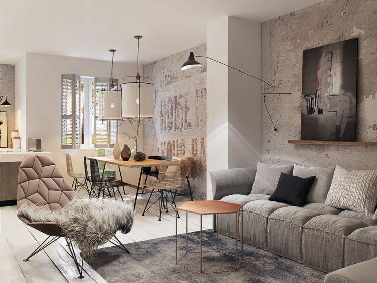 Moderne Wohnung mit Beton-Wänden mit rauer Struktur Wohnung - moderne wohnzimmer beleuchtung