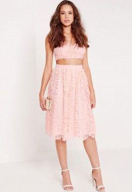 e96207013f3760 Crochet Lace Full Midi Skirt Pink