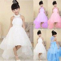 Wish | New Kids Girls Toddler Princess Party Prom Formal Wedding Beads Flower Beauty Bridesmaid Long Tail Wedding Dress