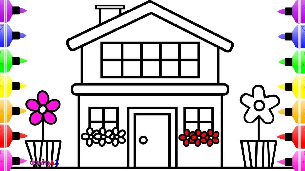 How To Draw House With Flower For Kids And Art Coloring Book For Children Coloring Books Drawing For Kids Unicorn Coloring Pages