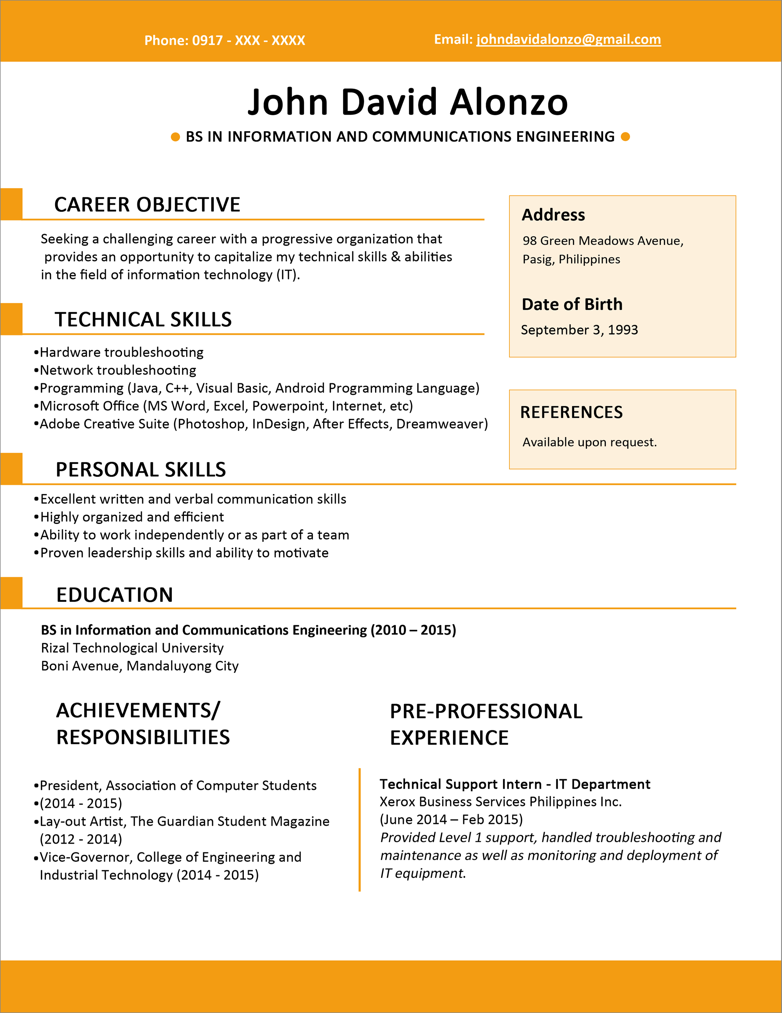 Sample Resume Format for Fresh Graduates Single Page 4 2550