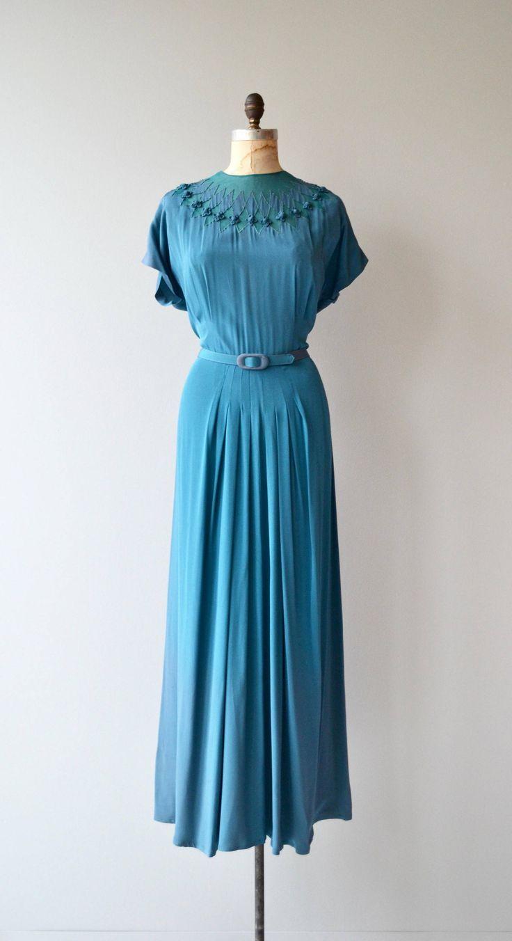 Adrastea dress | vintage 1940s dress | full length 40s dress | 40s ...