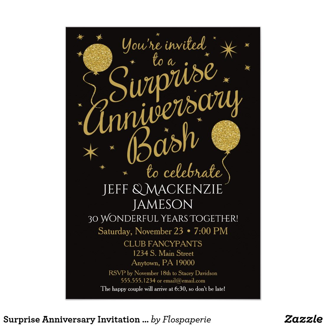 Anniversary Invitation Party Black Gold