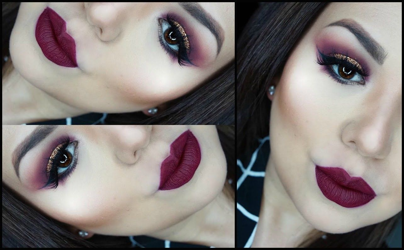 Maquillaje intenso con glitter y labios oscuros