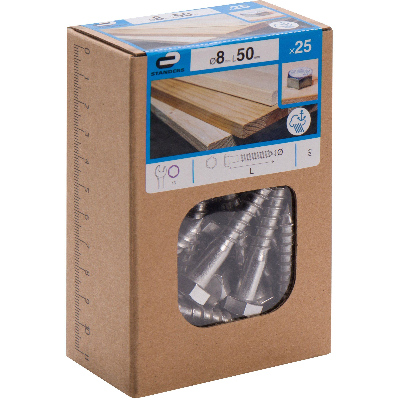 Lot De 25 Tirefond Inox Tete 6 Pans Standers Diam 8 Mm X L 50 Mm En 2020 Inox Tete De Et Cle Plate