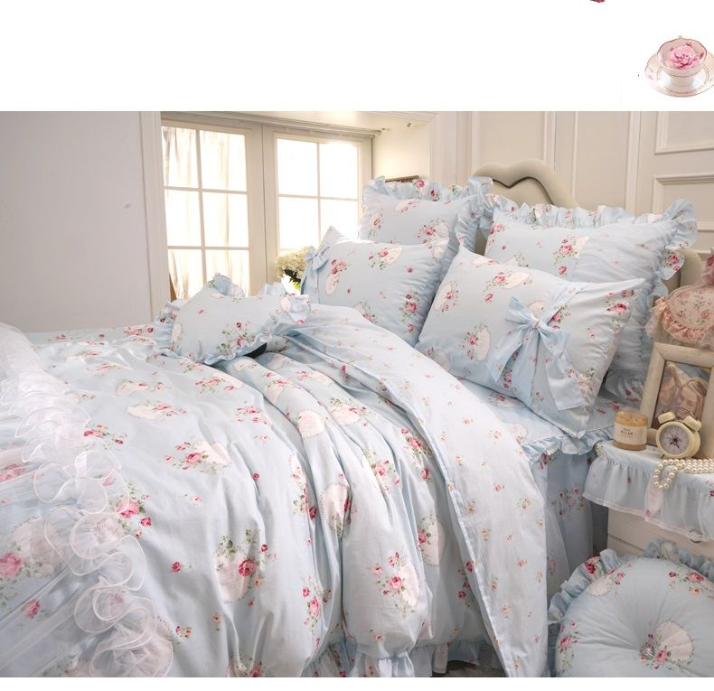 Find More Information About Light Blue Flower Lace Cotton Bedding