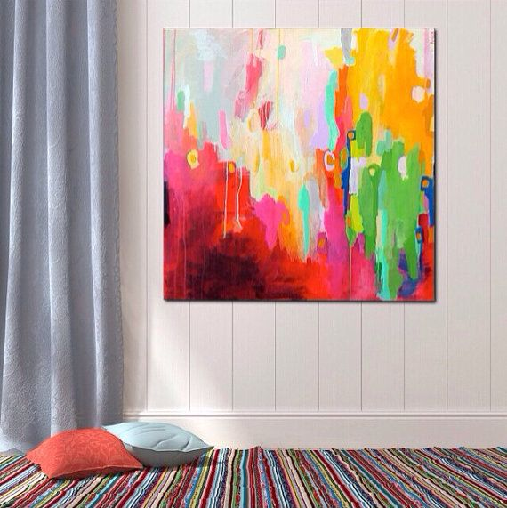 """Vibrant Colorful Abstract Expressionist Painting on 31x31 inch Canvas Ready to Hang """"Electra Street"""" Modern Contemporary Art by Amira Rahim on Etsy, $650.00"""