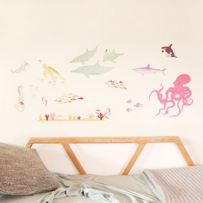 Under The Sea Girly Reusable Fabric Wall Stickers Vinilo