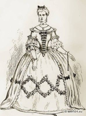 The Farthingale. Fashion during the reign of Louis XV.