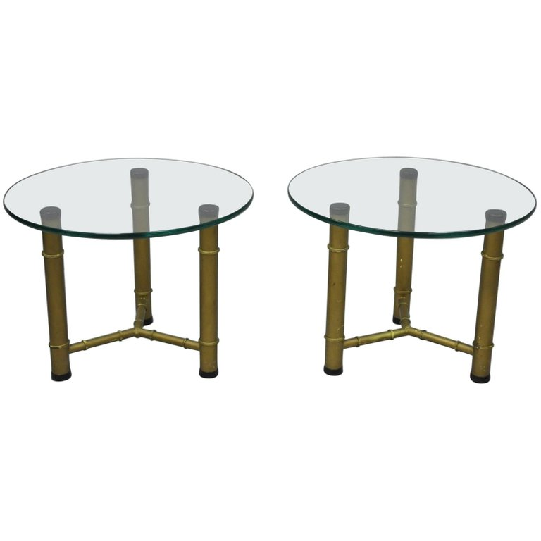 Pair Of Metal Faux Bamboo Round Glass Top Low Side End Tables