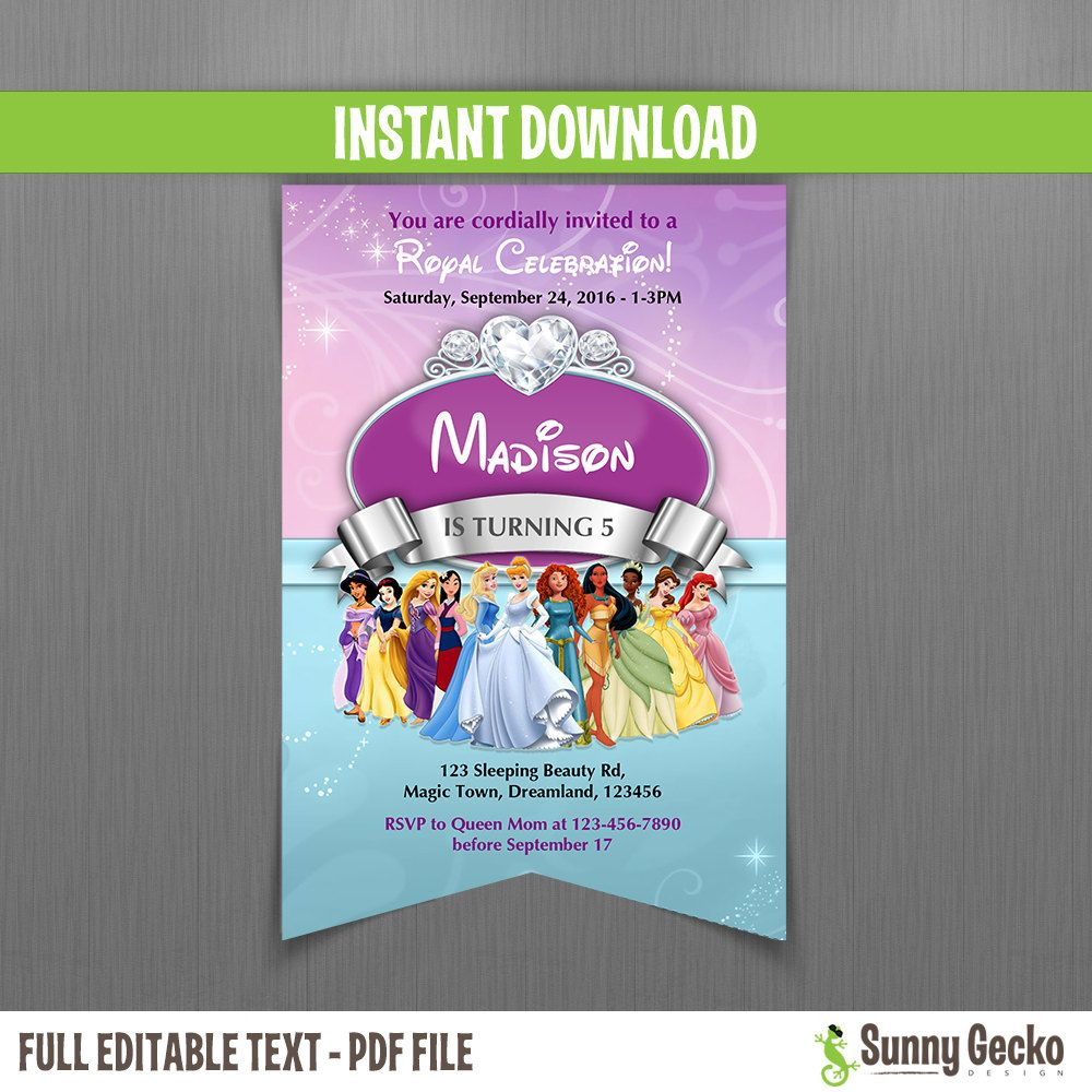 Disney Princess Scroll Birthday Invitation - Instant Download and Edit with Adobe Reader by SunnyGeckoDesign on Etsy