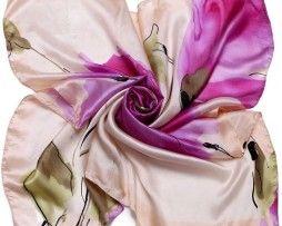 Luxusná hodvábna šatka s maľbou fialových kvetov
