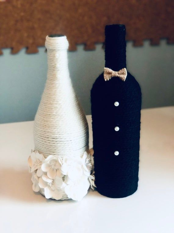 Bride and Groom Wine Bottles - Wedding Centerpiece - Newlyweds - Engagement Gift - Bridal Shower Gift - Wine Bottle Decor