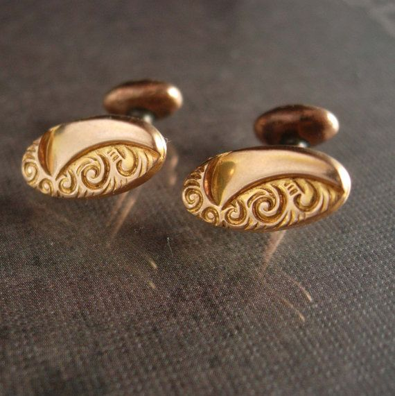 These late 1800s cufflinks are plated in rose gold and are petite and elegant. And remember, a personal well thought out gift shows you took the time to care about that special person in your life. Our items are classic, sometimes unusual and vintage and sometimes a little bizarre. Whether it is a memory from their past or something that reminds you of how special they are, purchasing from us is a unique idea that you can't get from a store every day. Just say the word and we will wrap it…