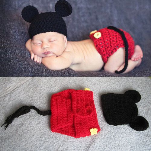 c6c505221ae3dd Newborn Baby Crochet Photo Prop Mickey Mouse Hat Cover Set Costume 0-6  month,baby crochet,newborn baby photo prop,baby costume on Etsy, $15.99