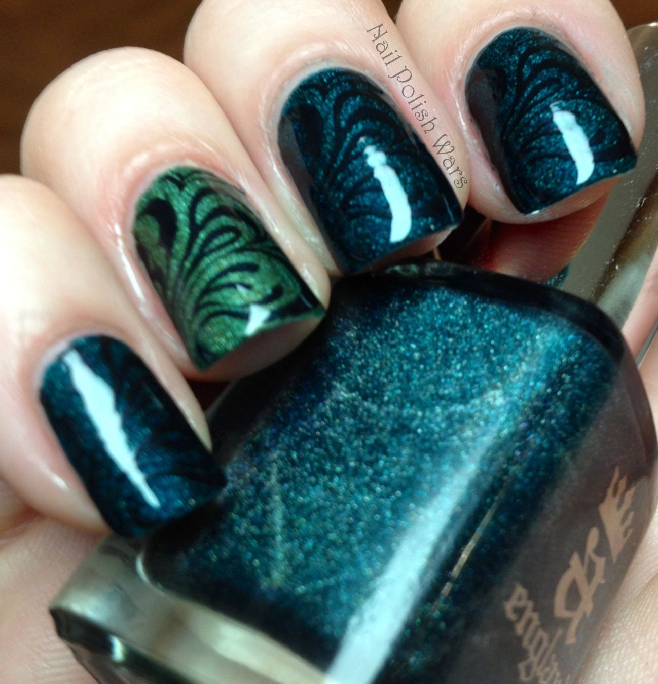 Dark Turquoise Green And Black Swirls Of Nail Polish