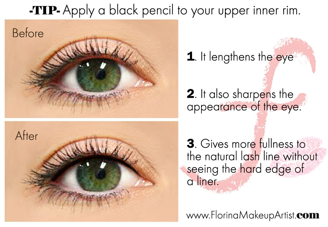 Without The Appearance Of Liner: Apply A Black Pencil To Your Upper Inner Rim. It Lengthens