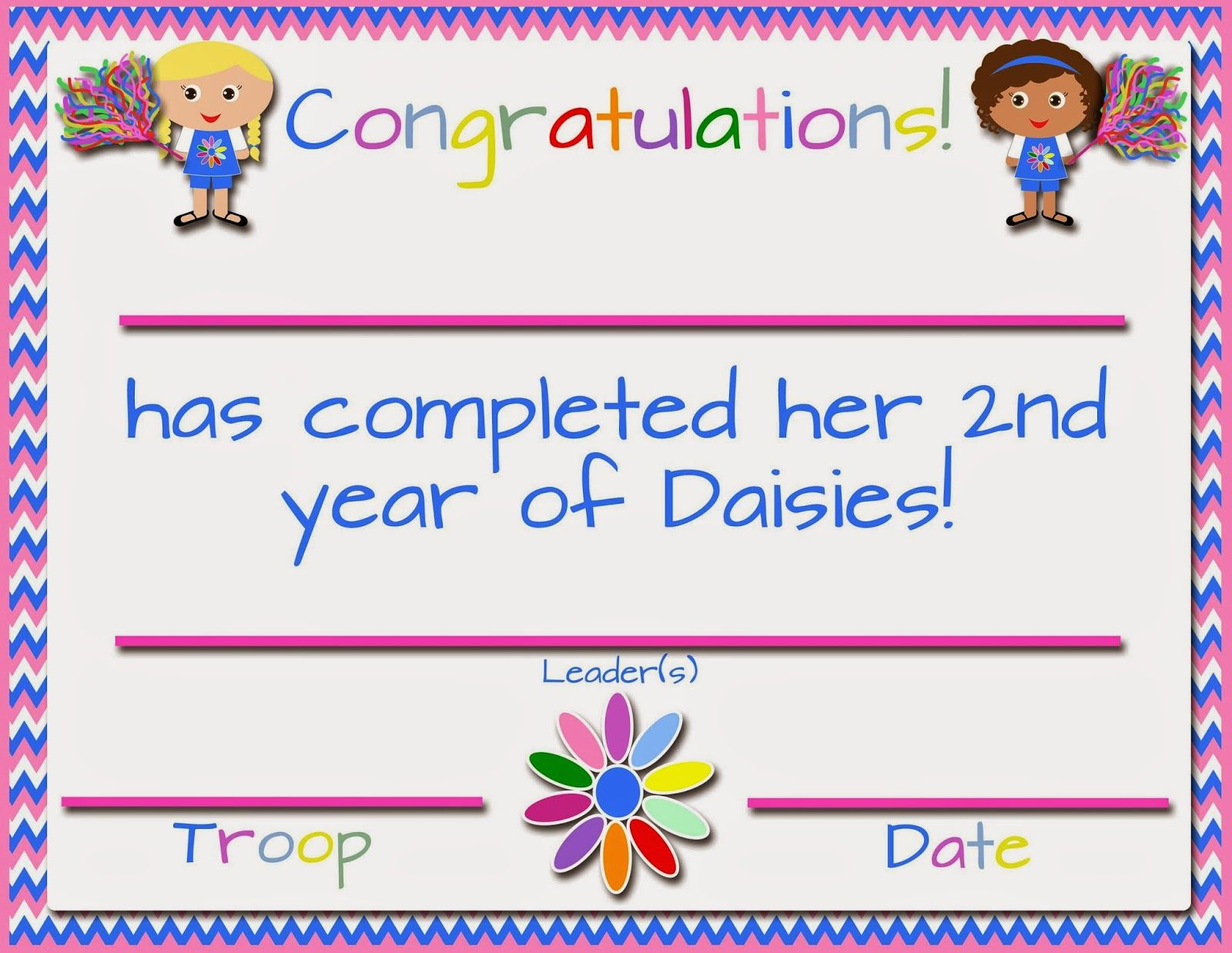 Girl Scouts Free Printable First Year Certificates
