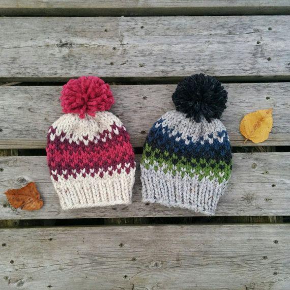 Chunky Fair Isle Kids\' Knit Hat / Rowling Hat | Gorros, Tejido y ...