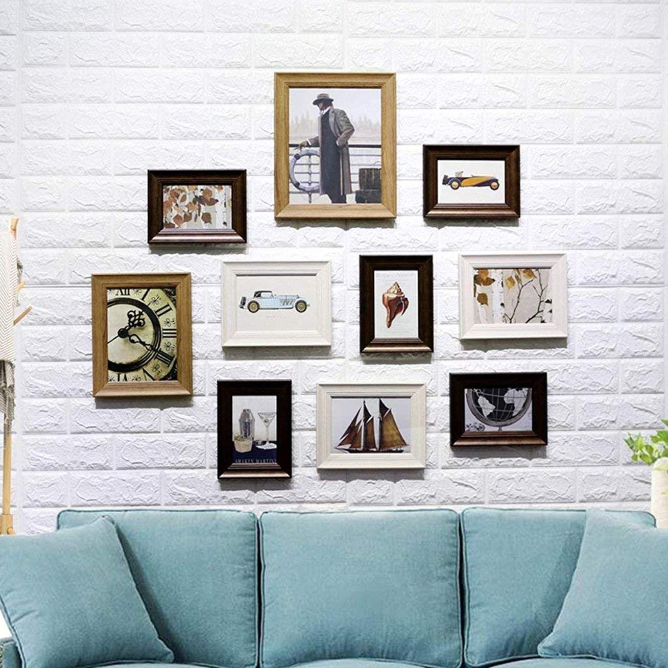 Cadre Photo Américain Rétro Résine Art Mur Noyer Bleu Salon ...