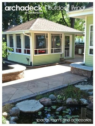 Patio With Freestanding Screen Porch Grinnell Des Moines Backyard Renovations Hardscape Patio Screened Gazebo