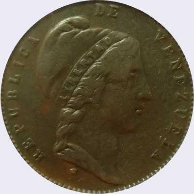 Pieza mv0.5cr-aa02 (Anverso). Moneda de Venezuela. 1/2 Centavo (Peso). Diseño A, Tipo A. Fecha 1852