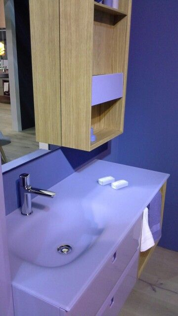 A bathroom design with lilac accents by Gran Tour Bagno at Salone ...