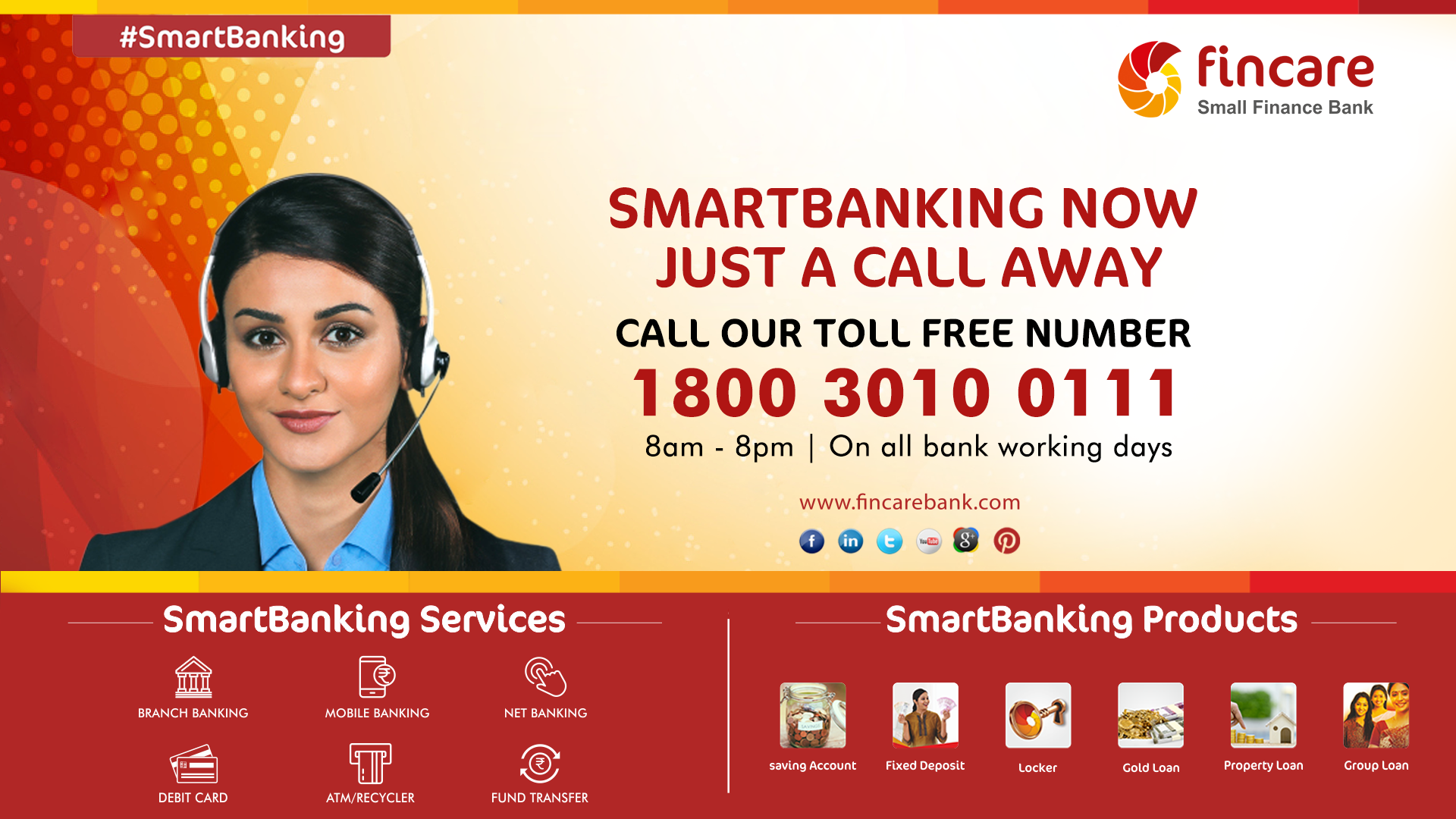 Smartbanking Just A Call Away! Call our toll free number