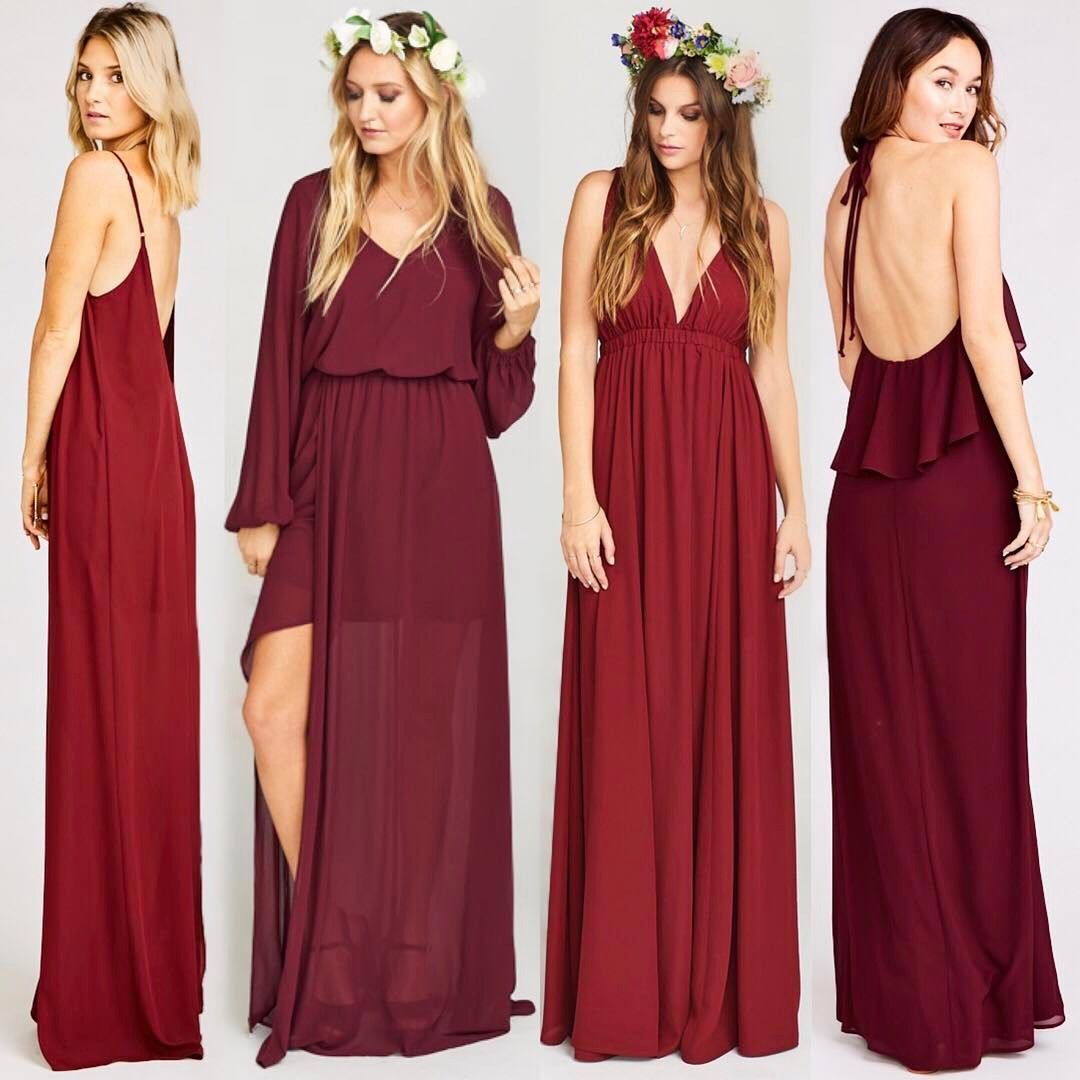 We love the way our merlot red wine bridesmaid dresses mix